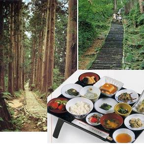 羽黒山杉並木、羽黒の石段、斎館の精進料理
